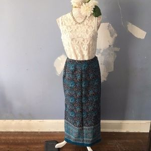 Relativity // Navy, Blue Floral Wrap Maxi Skirt M